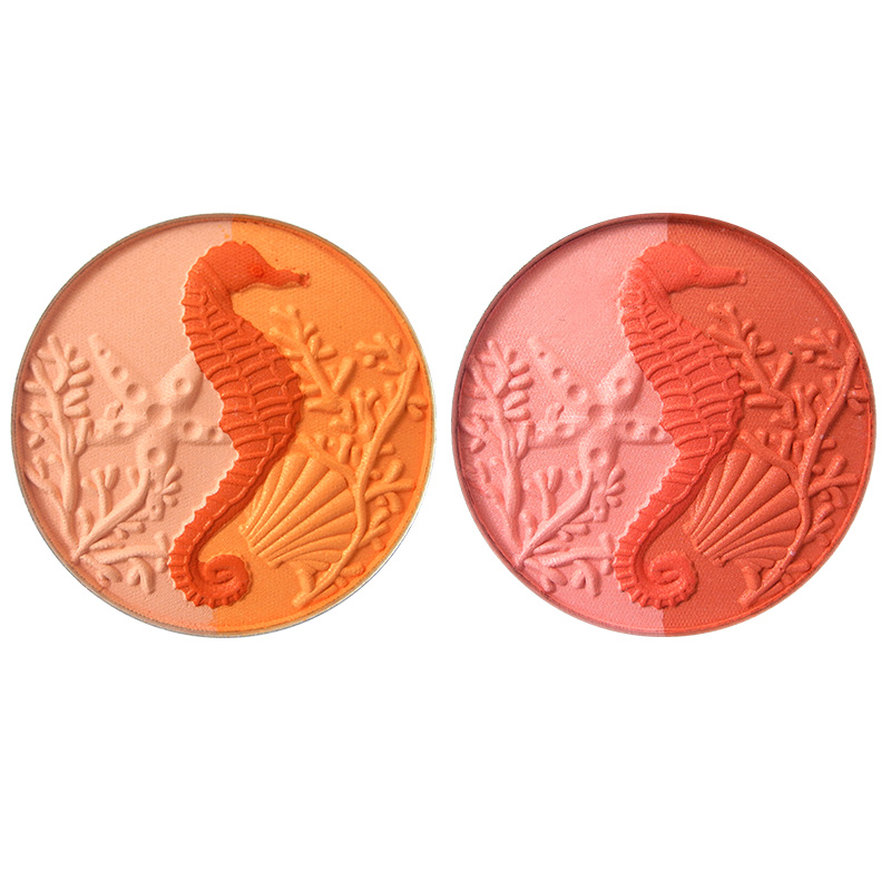 Custom High Pigment Private Label Seahorse Shaped Rubor Shimmer Pressed Powder Single Blush Palette