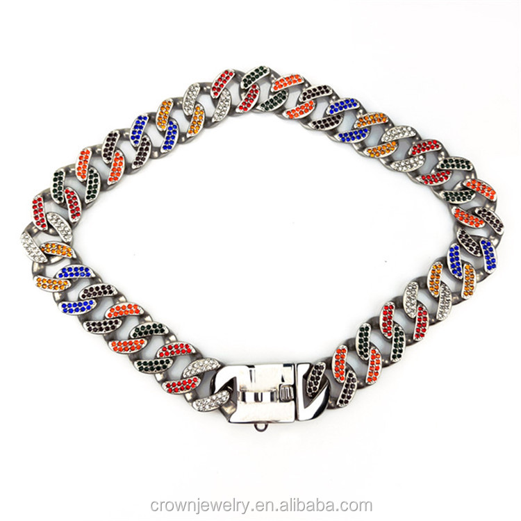 "26"" Pet accessories Custom Colors Large Cuban Link Collar Bully French Bulldog Bullies Pitbull Collar Luxury Dog Chain"