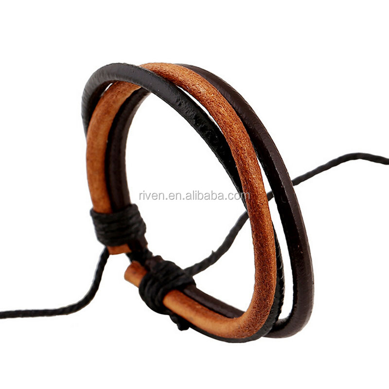 PK0417 Thick Round Leather Cord Braided Men Leather jewelry leather bracelet factory
