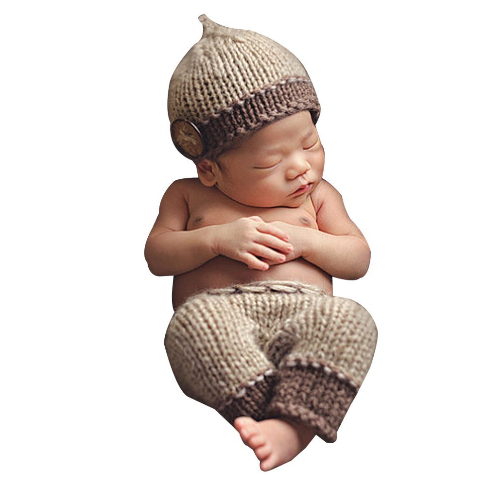 8ff1f1b208d Get Quotations · XFentech for Your Lovely Baby Girl And Baby Boy Photography  Prop Crochet Knit Hat Pants Outfit