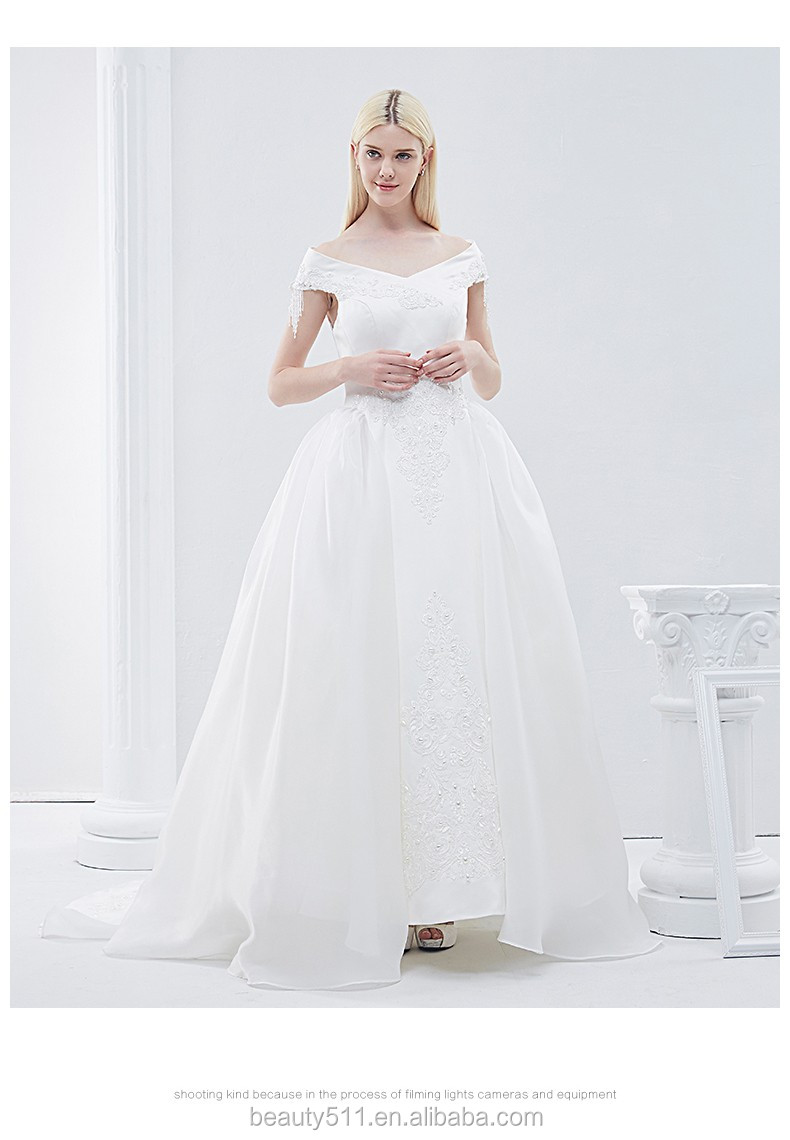 Layers of rose ruffles Capped sleeve wedding dress with flower sash accents sweep length TS202