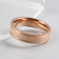 New Simple Designs Stainless Steel Wide Band Rose Gold Ring for Women & Men