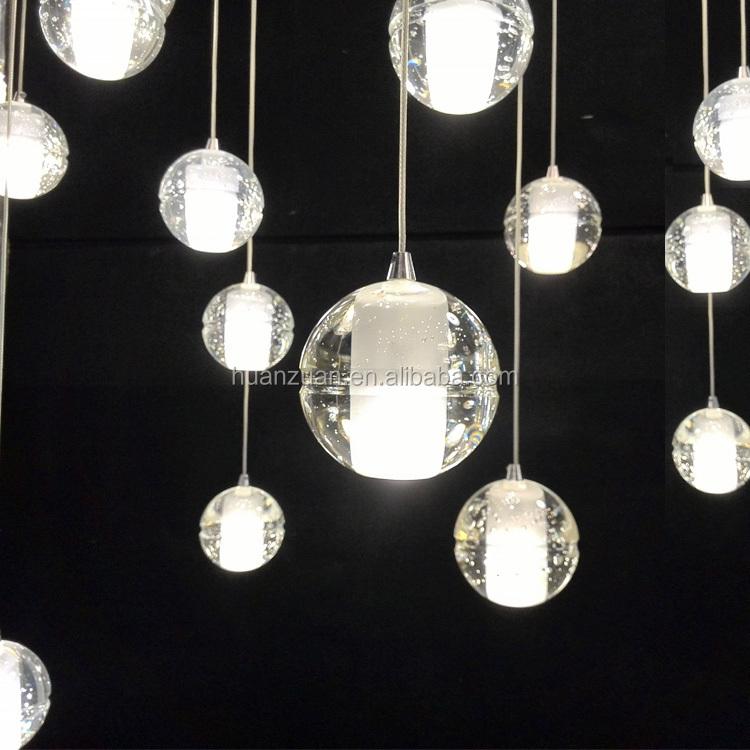 Lampadario Con Sfere Di Cristallo.Moda Sfera Di Cristallo Lampada A Sospensione Led Lampadario Con