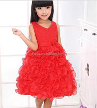 Girls dress V-neck dress beads Eugen multi-dimensional flower dress veil swing