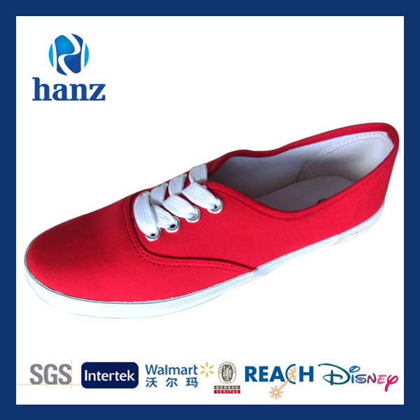 Moda casual plana red new design women canvas shoes para 2014