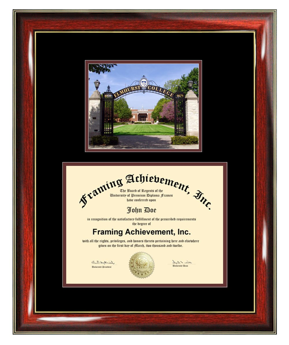 Elmhurst College Diploma Frame - Elmhurst Graduation Degree Frame - Matted Campus College Photo Certificate Plaque University Frames Framing Graduate Gift Collegiate
