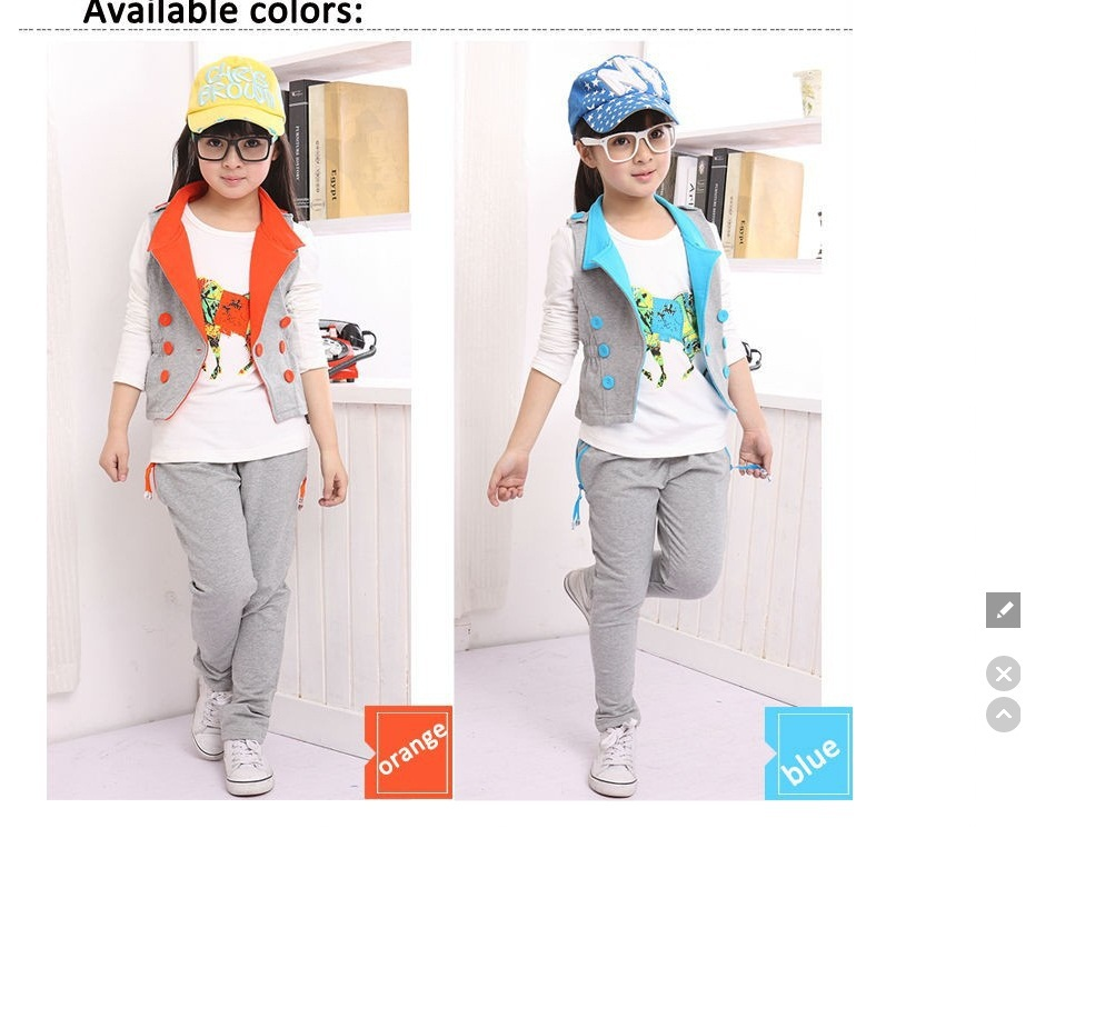 Teenage Girls' Clothing Set 3 Pieces for Spring Autumn Girls' Long Sleeves T Shirt & Vest & Pants 3 pcs Children Casual Suit Set