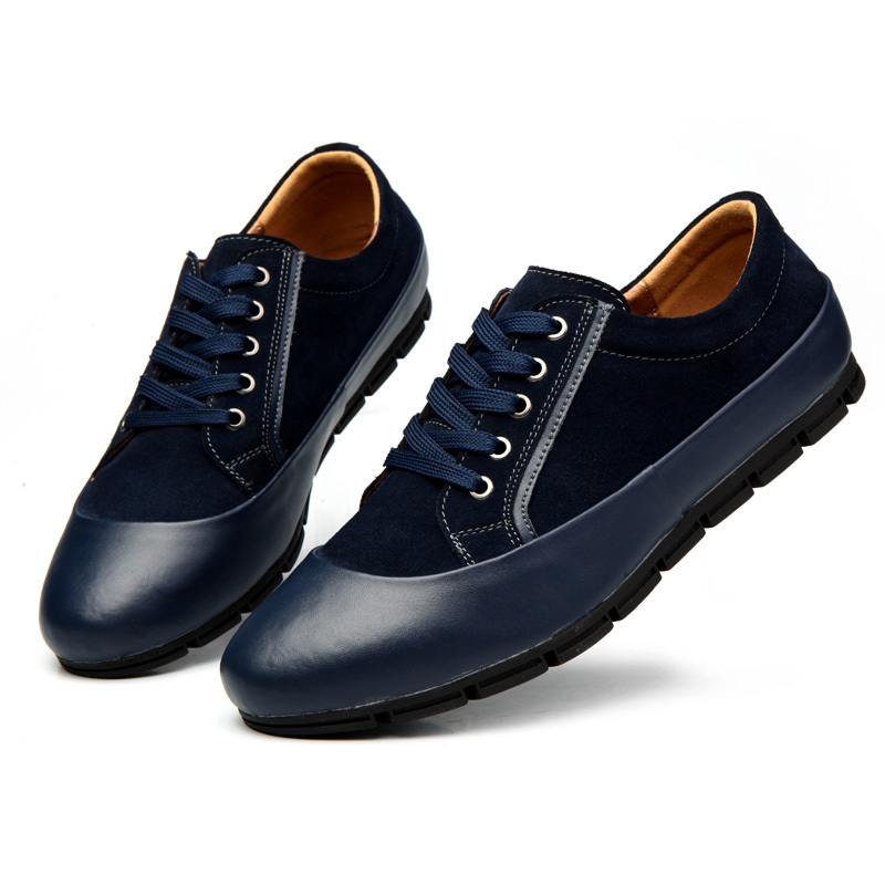 951dc87c92e9 Get Quotations · Men s Casual Leather Flat Shoes England Stylish  Comfortable Fashion Leisure Zapatos Pisos Hombres Baratos Negro Azul