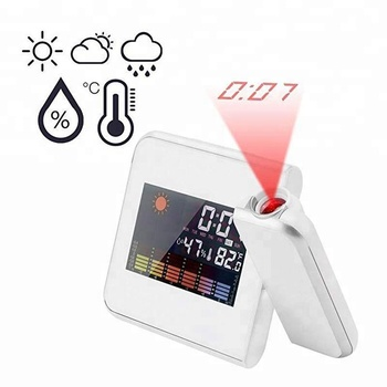 Projection Alarm Clock Digital LED Forecast Weather LCD Display Desk Clock (WHITE)