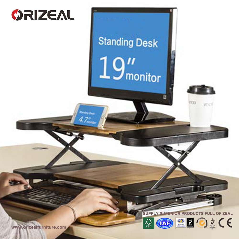 Orizeal adjustable standing desk, aluminum bamboo portable foldable laptop table (OZ-ODKS015)