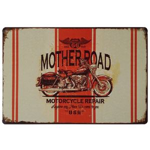 Motorcycle Repair Route66 Younger Decor Metal Vintage Tin Poster Cafe Bar Garage Restaurant Bathroom Art Man Cave Pin up Girl