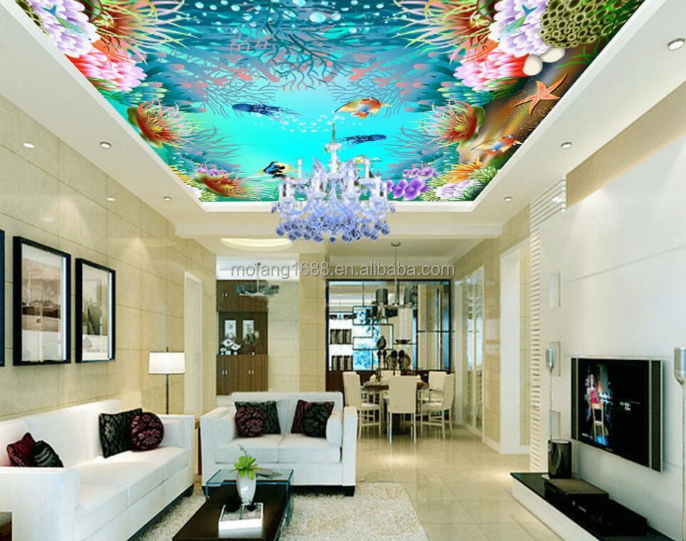 Blue Underwater Sea Wallpaper Home Decoration Exhibition Ceiling 3d Ceiling  Wallpaper Underwater Shop Decoration Mural Customize   Buy Wallpaper Home  ...