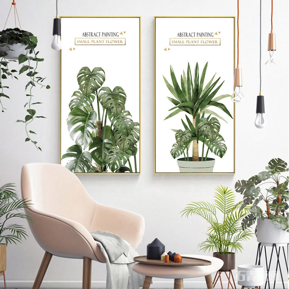 Customized Nordic style Green Plant Leaf Canvas print painting by numbers