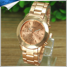 Geneva Gold Ladies Women Girl Luxury Brand Stainless Steel Quartz Wrist Watch Reloj Mujer Men Watch GW012