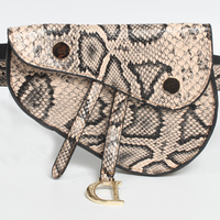 Vintage Snakeskin Pattern Mini Waist Belt Bag Fashion Saddle Bag with Pendant