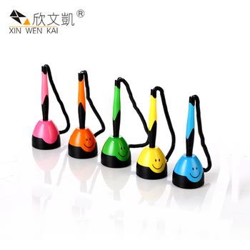 High Quality Products Full Color Cute Smile Design Plastic Table Ball Points Pen With String