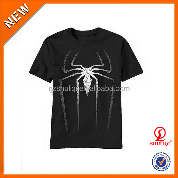 Amazing Spider Men's Black Silk Screen Printing T Shirt Wholesale China & Competetive Price
