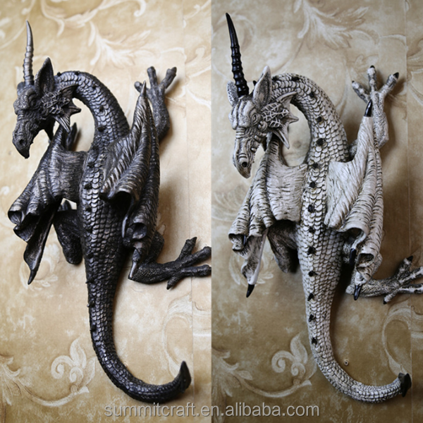 3d wall decor artificial resin wall mount dragon statue