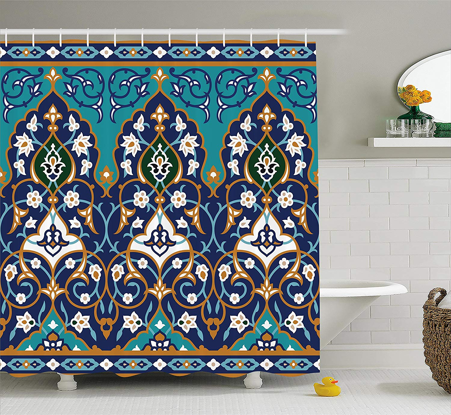 Ambesonne Moroccan Shower Curtain, Ottoman Folkloric Art Inspired Abstract Aged Middle Age Renaissance Artful Print, Fabric Bathroom Decor Set with Hooks, 75 Inches Long, Navy Blue