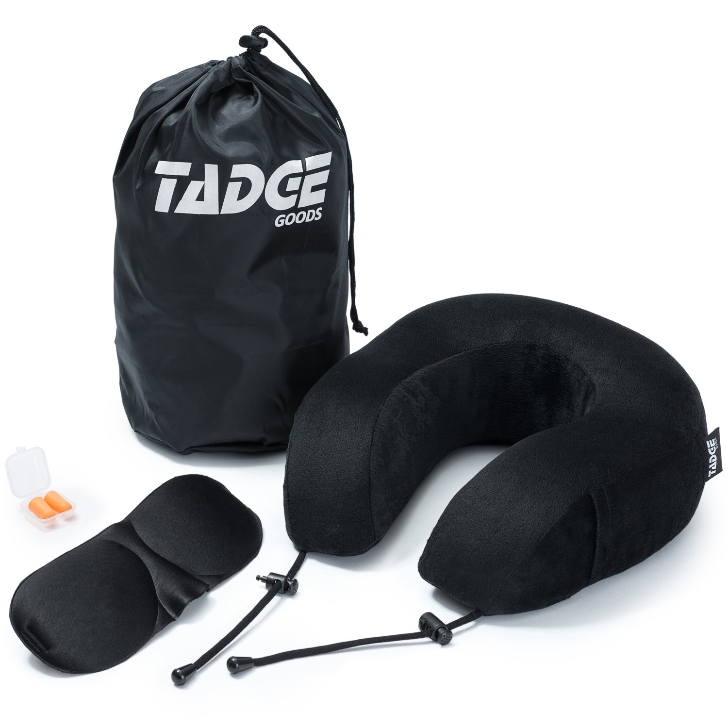 Tadge Goods Neck Travel Airplane Pillow & Accessories – 100% Pure Memory Foam – Sleeping Eye Mask, Ear Plugs, Travel Bag Included – 10 Colors To Choose From