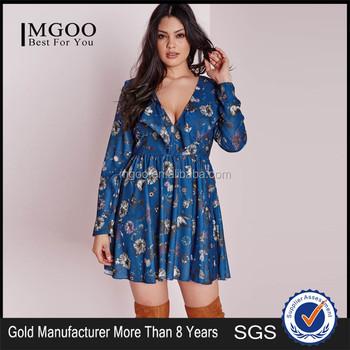 Wholesale New Designs Women Blue Floral Plus Size Dresses Frill ...