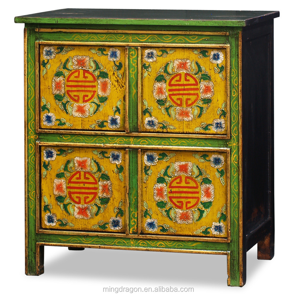 Chinese antique furniture tibetan painted cabinet buy for Hand painted oriental furniture