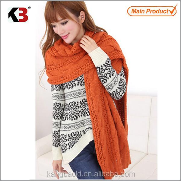 2016 venta caliente nueva moda cálida de punto jacquard bufanda de invierno de la mujer