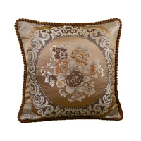 Luxury embroidery Floral Cushion Cover Jacquard polyester satin pillowcases