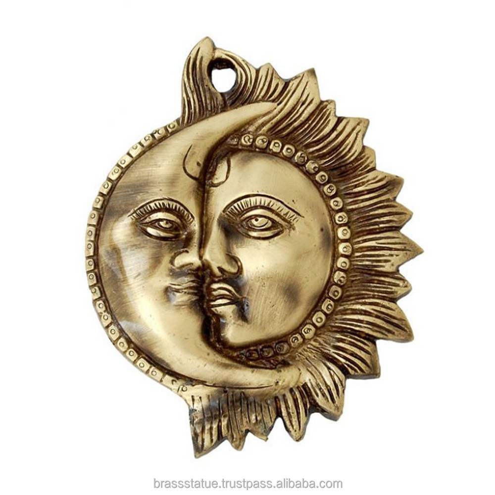 Brass wall hanging- Sun and moon metal wall hanging wall decor
