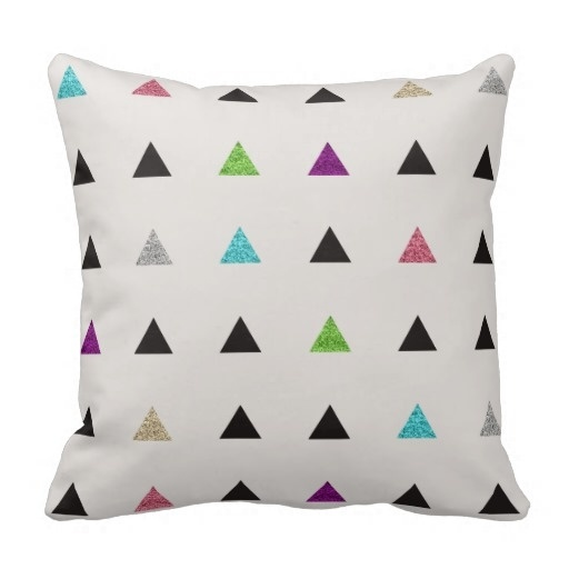 Trendy Hipster Glitter Triangles Throw Pillow Case (Size: 45x45cm) Free Shipping