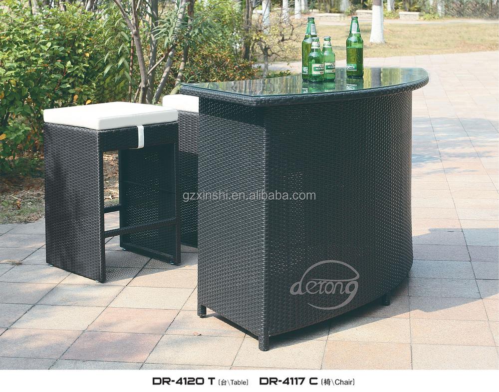 terrasse rattan au en theke tisch und st hle f r outdoor. Black Bedroom Furniture Sets. Home Design Ideas