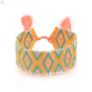 Wild fashionable wholesale bohemian jewelry designers orange color Rope&Seed Beads bracelet