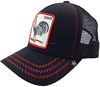 Two color red canvas black mesh trucker caps hats cock fight cap Front Pu leather patch cock trucker cap with wavy stitches