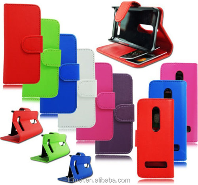 New Style Book Wallet Leather Case Cover Pouch For Nokia Asha 210