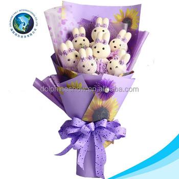 2017 Beautiful Wedding Plush Toy Flower Bouquet NEW Fashion Cartoon Cute Purple Bunny Teddy Bear