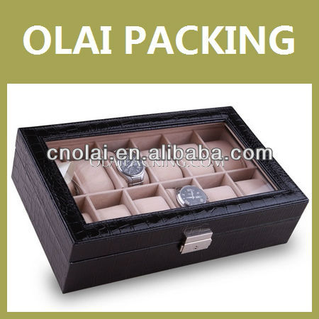 12-Slot High Quality Leather Wood Watch Box