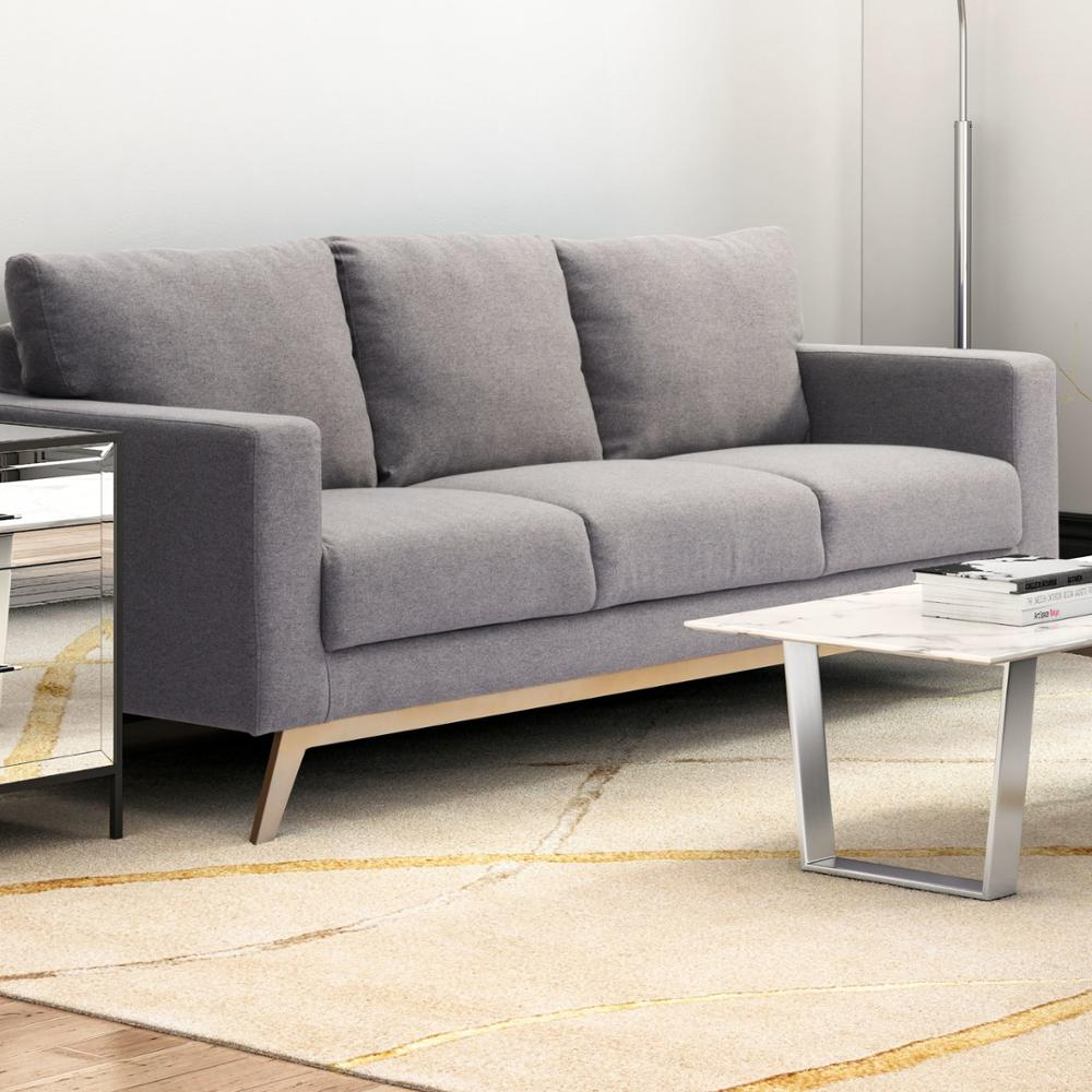 Contemporary Leisure Fabric Furniture Light Gray Linen Modular Sofa On Gold  Stainless Steel Base