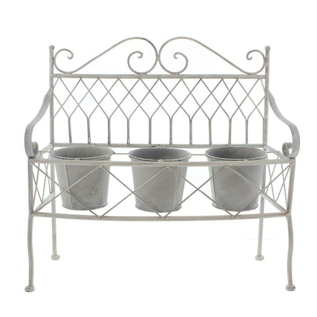 CSQ Wrought Iron Flower Stand/Plant Stand, Gray Flower Pot Holder with Flower Pot3, Bedroom Balcony Living Room Garden 582254CM