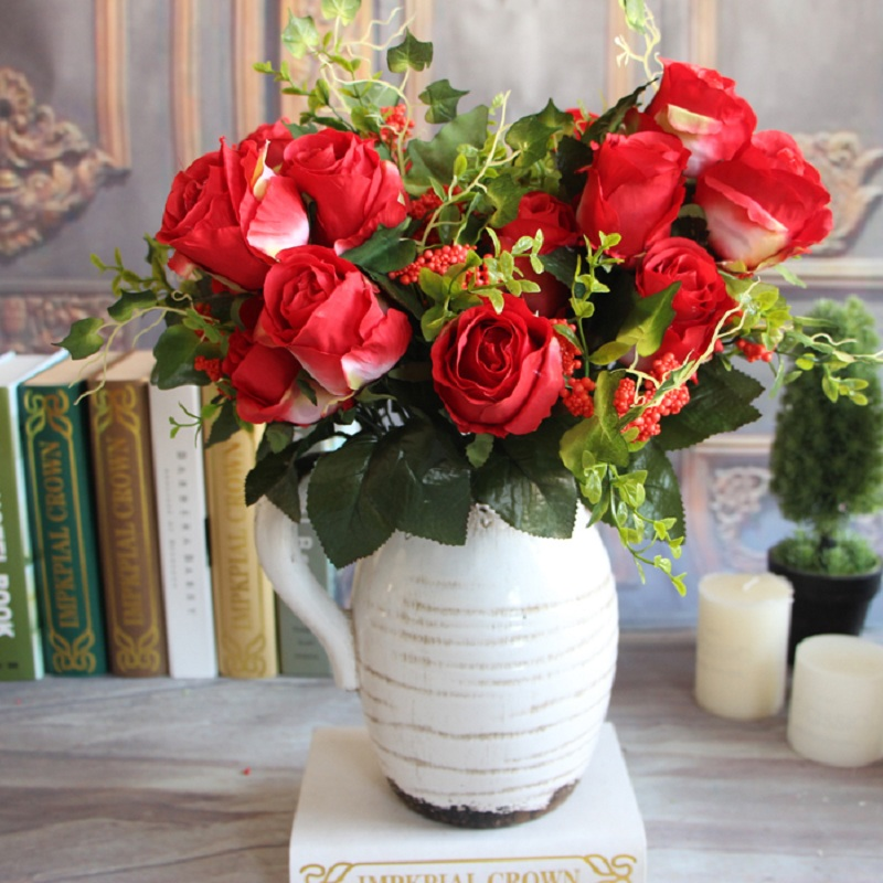 New Charming Beautiful Pretty Artificial Fake 9 Heads Spring Rose Flowers Floral Home Hotel Desk Party Decor