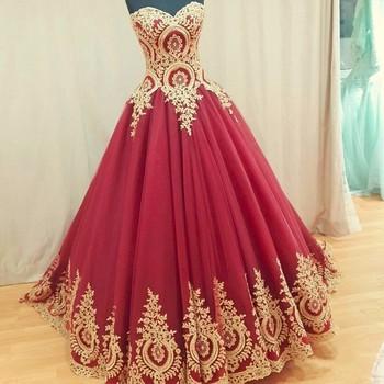 Ne138 2018 Ball Gown Wedding Dresses Turkey Gold Appliques Lace