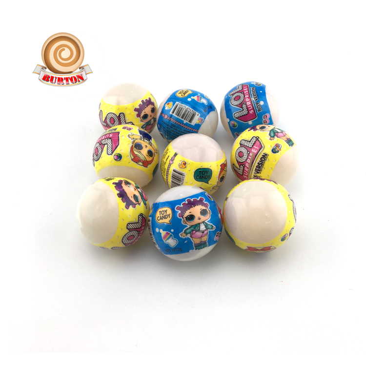 Kids ball toy with whistle candy and tattoo surprise toy candy