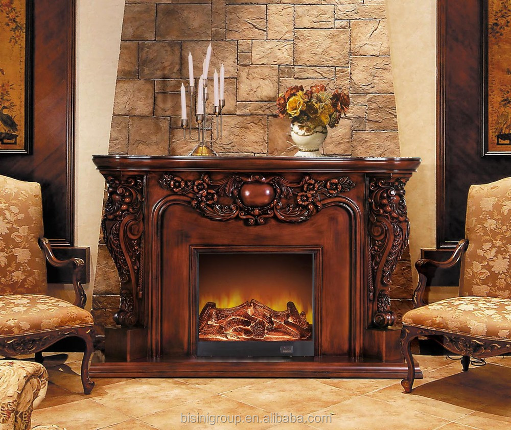 elaborate luxury electric fireplace natural brown antique painted