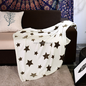 factory customized soft touch star print flannel fleece airline blanket mink baby blanket