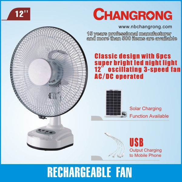 Changrong 12 inch hot sale battery powered led table fan