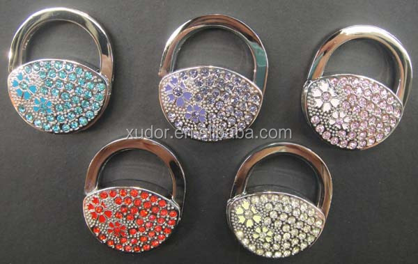 Crystal rhinestone folding bag hanger/purse hook