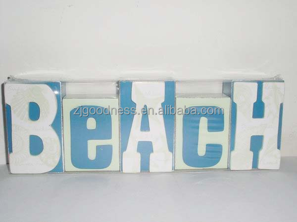 beach sign set wooden block letters cottage colors hand made decor buy square wood blockdifferent wood blockshome decoration wooden blocks product on