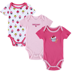 3 Pack Kids Baby Boys Girls Short Sleeve Pink Cotton Bodysuit