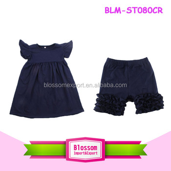 d5e65cfa18cf Hot Sale Toddler Girls Summer Boutique Children Clothing Sets Smocked Icing  Outfits Flutter Tops with Ruffle