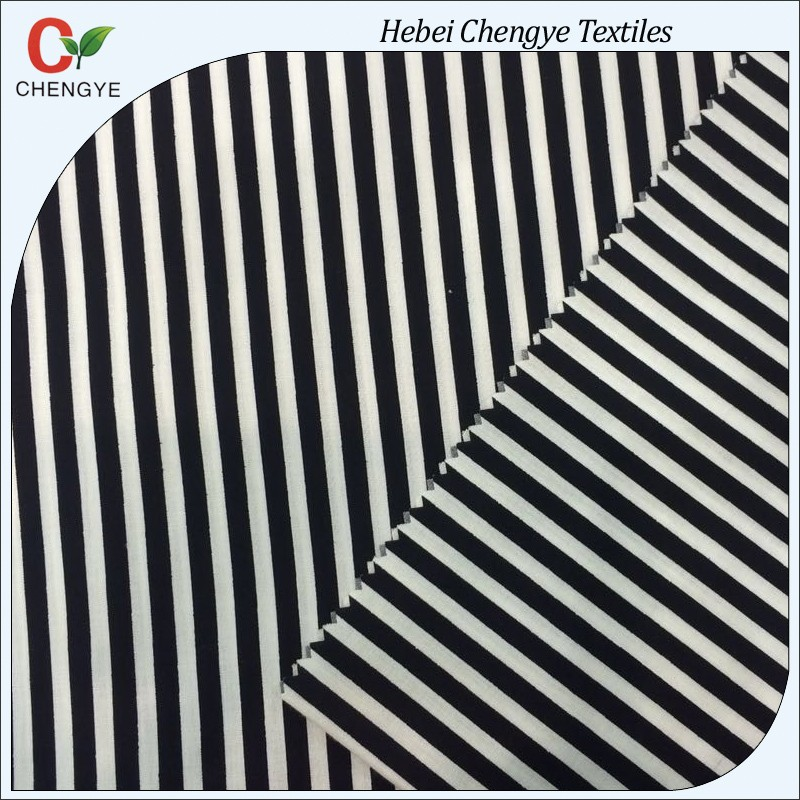 poly cotton black and white striped chef uniform fabric