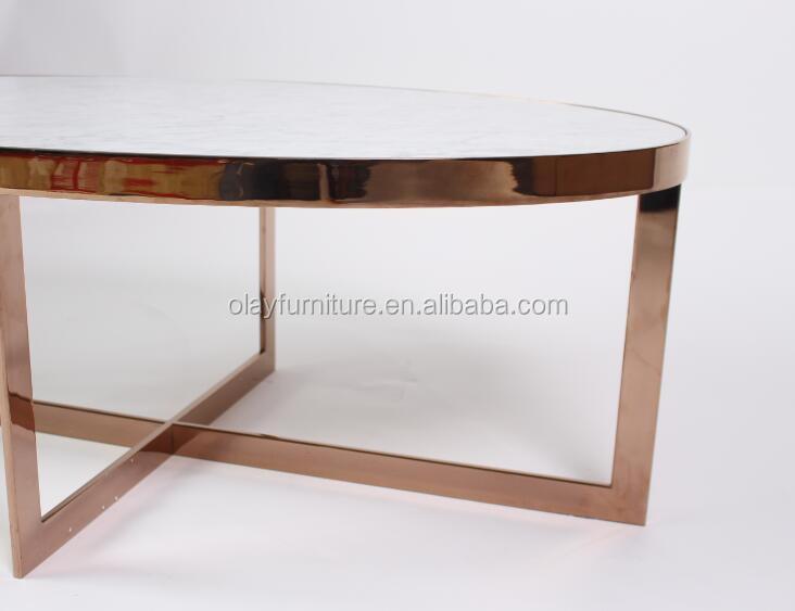Blanco antiguo Bianco Carrara Piedra Natural mesa de café con acero ...